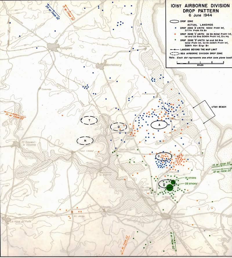 101st Airborne Division Drop Pattern Map