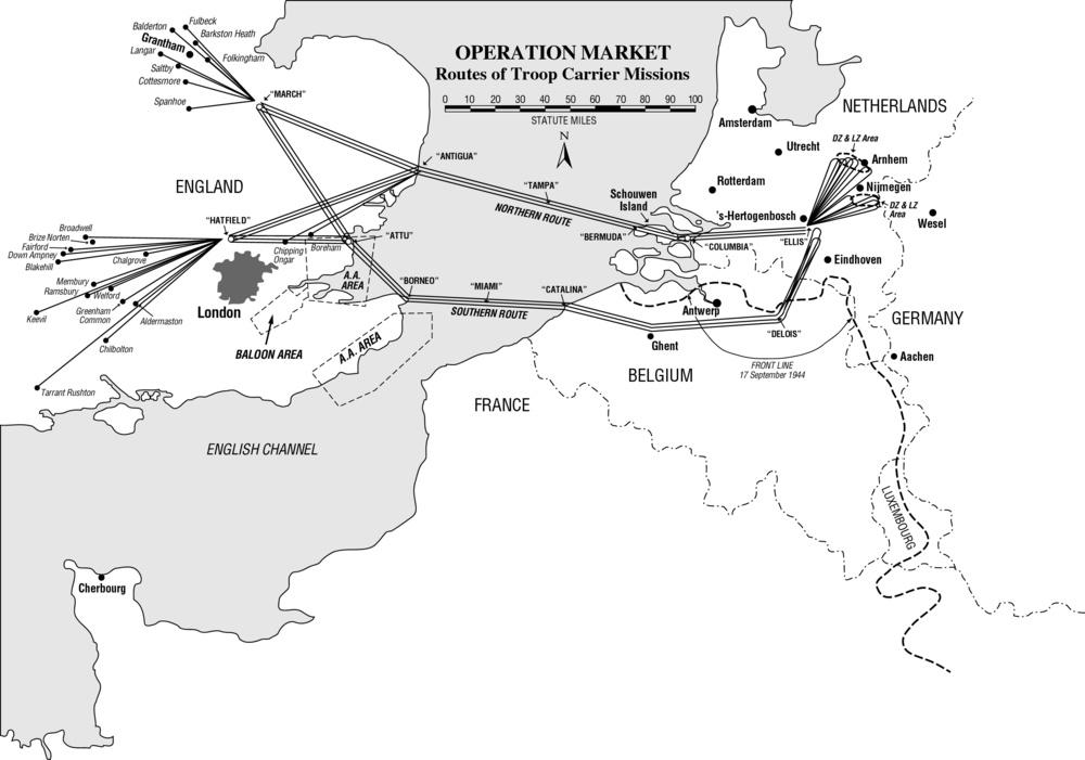 Market-Garden flight routes, September 17, 1944