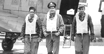 Part of the crew in the report, The One Man Radio Show  L to R: T/Sgt. Henry Jeffries, Captain Eugene Turkelson, and S/Sgt. Arthur Een. Photo: USAAF