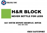 Golf Tournament - H&R Block, Dover DE - Sponsor