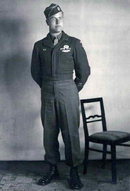 A portrait of George Shenkle, circa World War II. Shenkle, who was assigned to Easy Company, 508th Parachute Infantry Regiment, 82nd Airborne Division during World War II, visited the Air Mobility Command Museum and the C-47A Skytrain that he jumped out of on D-Day, June 6, 1944, over Sainte-Mère-Église, France. (Courtesy photo)